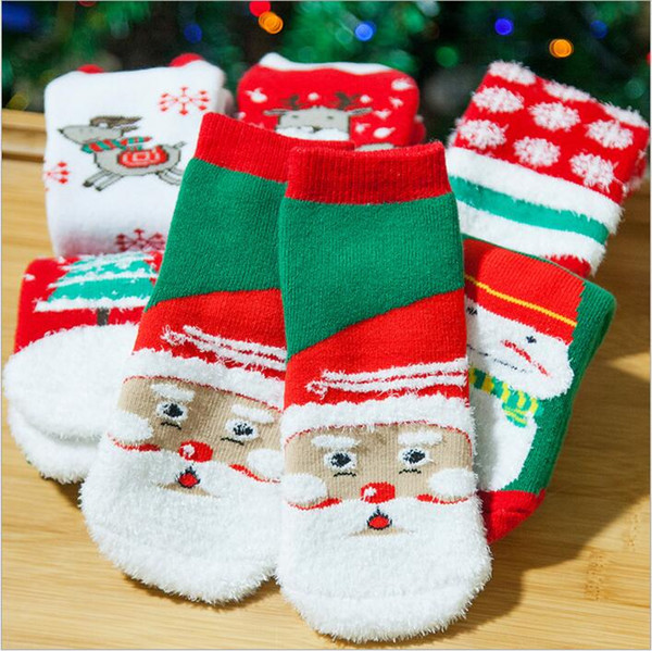 Christmas Baby Socks Girls Xmas Winter Socks Cartoon Fashion Socks Toddler Santa Claus Elk Hosiery Kids Tree Snowman Footwear Booties B3051