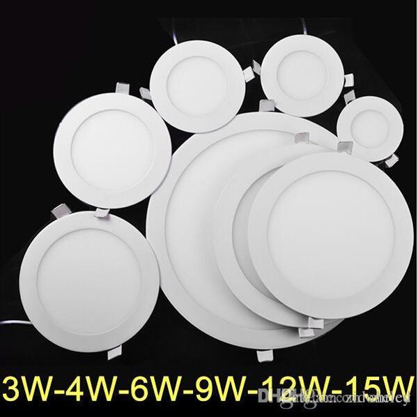 Panel de luz LED Ultra delgado 3W 4W 6W 9W 12W 15W AC85-265V LED Downlight Iluminación redonda SMD2835 Epistar chip CE RoHS Aprobado