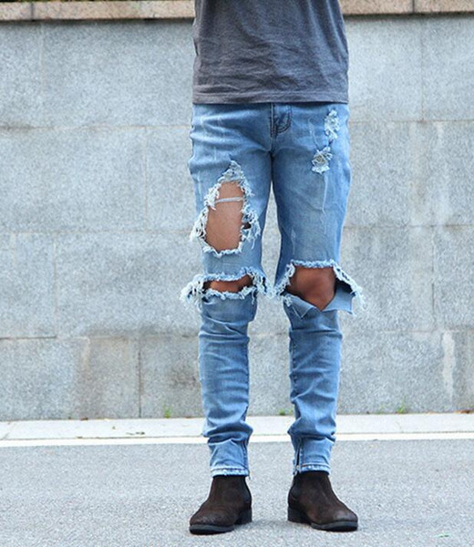Hot sales of new water holes KANYE WEST knife knee damage whiskers side zipper Slim jeans Free shipping