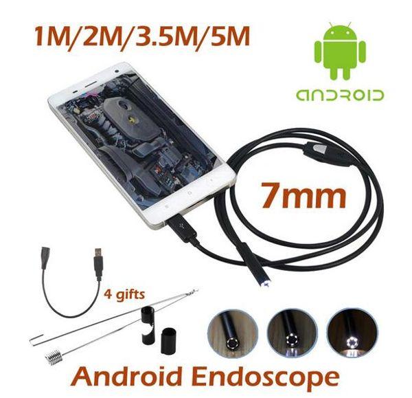 best selling 7mm Mini USB Android Phone Endoscope Camera 1M 2M 3.5M 5M Waterproof inspection Snake Tube MicroUSB OTG Borescope HD720P Camera