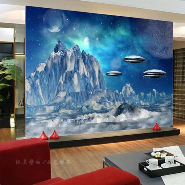 Großhandel 3D Space Wallpaper Custom Schnee Berg Fototapete Schlafzimmer TV  Hintergrund Wand 3D Tapete Fliegende Untertasse Wandbilder Room Decor ...
