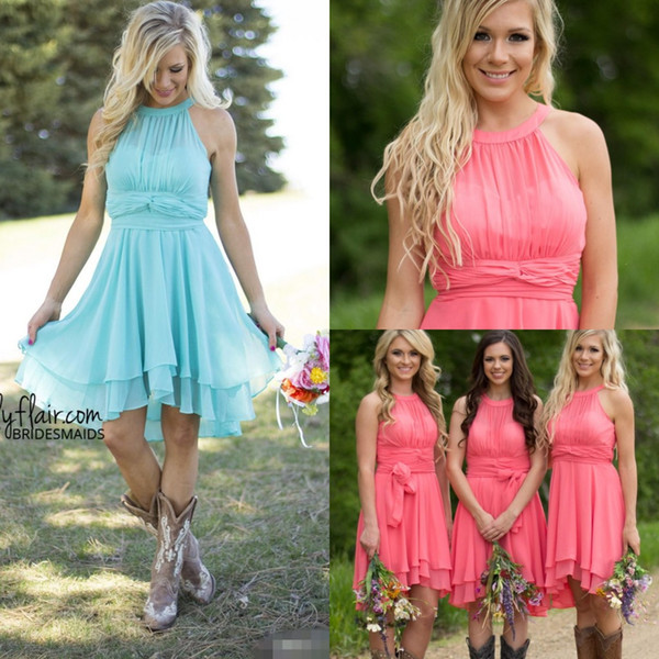top popular 2019 Fall Cheap Country Coral Bridesmaid Dresses Jewel Chiffon Knee Length Wedding Guest Wear Party Dresses Maid of Honor Dress 2021