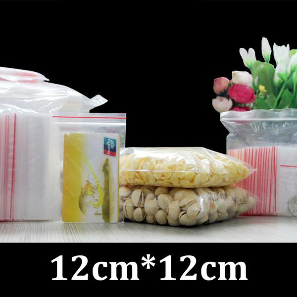 12cm 12cm food grade packaging flat resealable zipper PE clear plastic bag