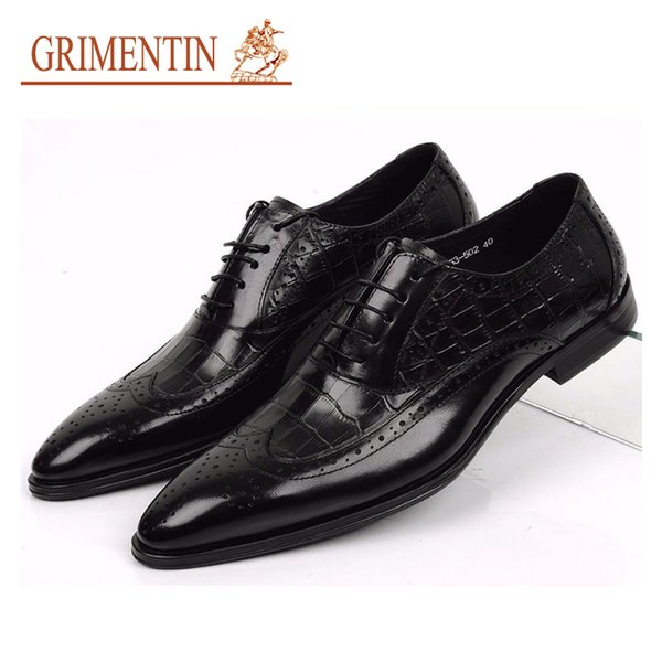 GRIMENTIN 100% Genuine leather oxfords mens wedding shoes crocodile style black brown Italian dress men formal shoes large size man shoes