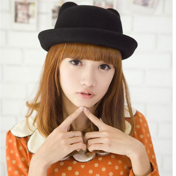 Lovely Girls Cat Ear Hat Fashion Vintage Trendy Cap Women Bowler Fedoras Trilby Hat Hot Sale High Quality