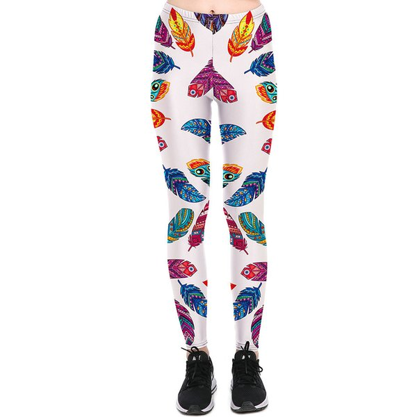 Color feather pants Nice plume tight Women plumage gym clothing Leggings sport wear Fitness training sportwear Exercise trousers