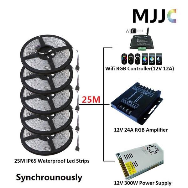 Sincronemente 25M SMD 5050 Tira de luz LED a prueba de agua IP65 RGB + 1PC Wifi 12A Controlador RGB + 1PC 12V 25A 300W Fuente de alimentación + Conectores