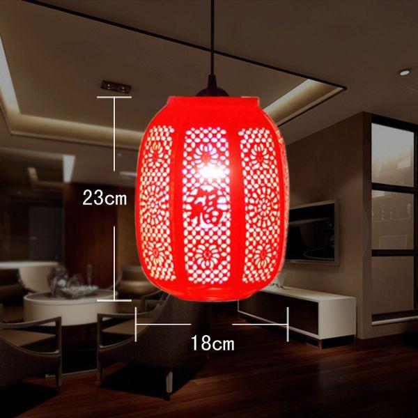 Chinese Style Design Restaurant Bar Coffee Red Lantern Ceramic Pendant Lamp Salon Light Fixtures