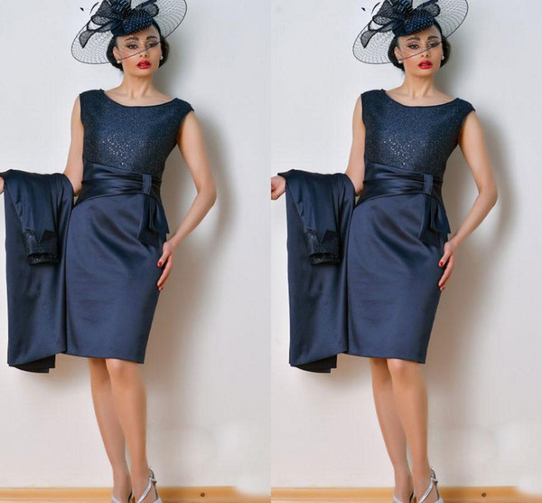 Dark Navy Knee Length Mother of the Bride Suits Groom Gowns 2019 Fashion Free Hats Coat Sequined Satin Short Evening Party Dress