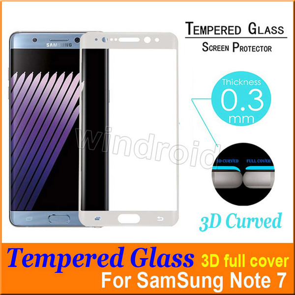 0.2MM Note 7 S7 Edge s6 edge plus 3D curve Screen Protector Tempered glass Full Cover Curved Glass 9H Hardness + Retail box Cheapest 30pcs
