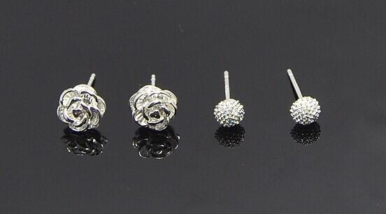925 silver anti allergy earrings small jewelry for girls Korean style Rose Strawberry high quality cheap earrings free shipping