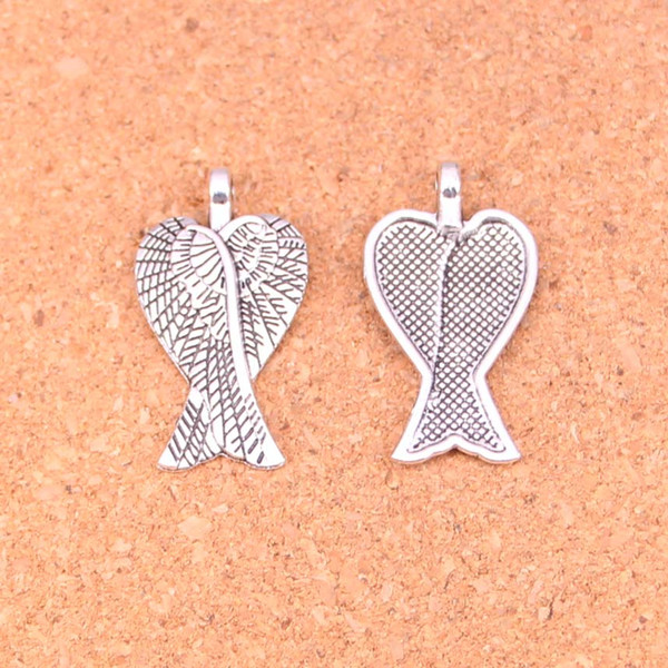 96pcs Antique Silver Plated angel wings Charms Pendants for European Bracelet Jewelry Making DIY Handmade 27*15mm