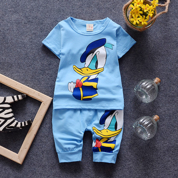 Kids Boys Girls Clothing Sets Short Sleeve Duck Pattern T-shirt + Pants 2 Pics Suits New Summer Cotton Kids Clothing Sets