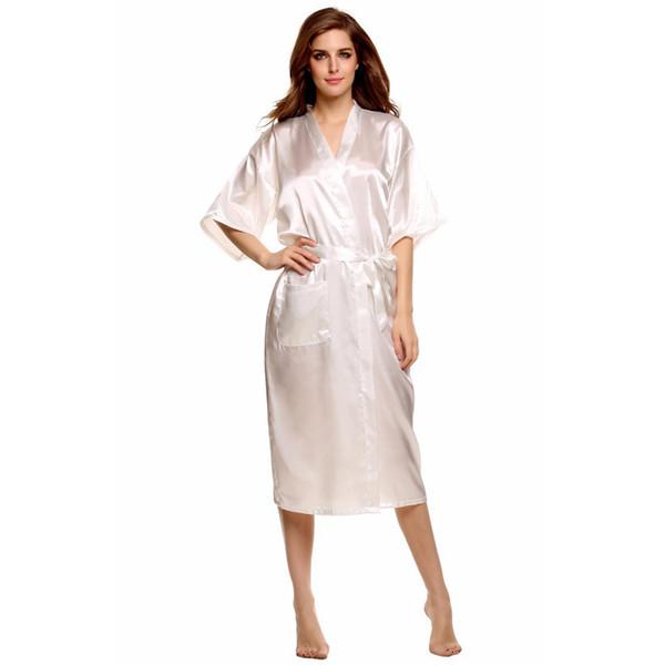 Vendita all'ingrosso- Vendita calda Donne bianche Seta Rayon Robe Sexy Kimono Bath Gown Camicia da notte Classy Camicia da notte Plus Size S M L XL XXL XXXL
