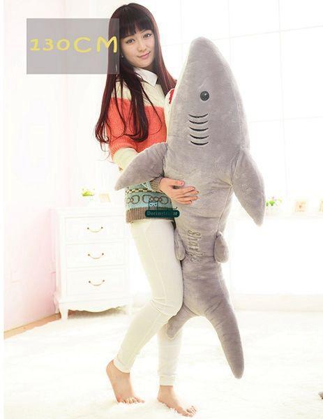 Dorimytrader 51'' / 130cm Giant Plush Soft Stuffed Large Animal Shark Toy Birthday Gift for Kids Lover Doll Free Shipping DY60661