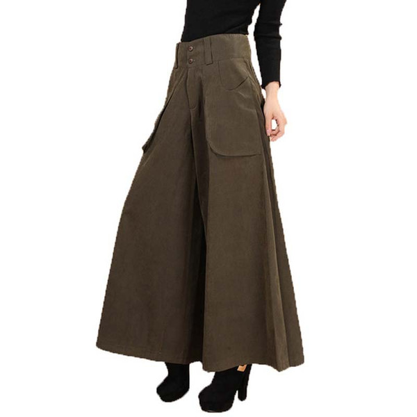 new concept d95d5 7939d Acquista Più Estate Donne In Tutto Abito Pantaloni Gamba Epoca Casual  Femminile Solidi Pantaloni Gonna Anni '50 Allentati Capris Culottes Pocket  KL178 ...