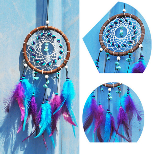 Turquoise Stone Feather Dream Catcher Dreamcatcher Gift Handmade Dream Catcher Feathers Wall Hanging Decoration Ornament Craft Gift B934Q