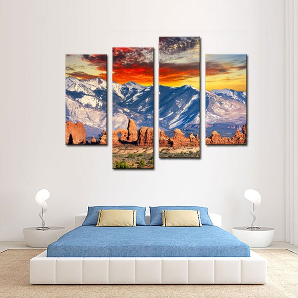 Satın Al 4 Resim Kombinasyonu Duvar Sanatı Boyama Kar Dağ Bulut Mavi Gökyüzü Resimleri Ev Dekorasyon Için Tuval Manzara Baskılar 362