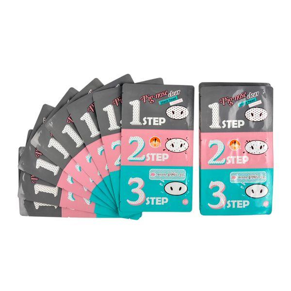 Schwein-Nasenmaske Mitesser-Entferner Nasenmaske Drei-Stufen-Kit Tiefenreiniger Korean Cosmetics Face Nose Treatment Mask