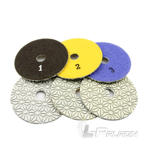 best selling 3 pieces 100mm Diamond Flexible Wet & Dry Polishing Pads 3 Step Grinding for Stone Marble Tile