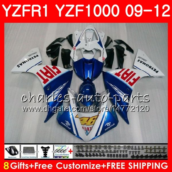 Bodywork For YAMAHA YZF blue white 1000 R 1 YZF-1000 YZF-R1 09 12 Body 85NO27 YZF1000 YZFR1 09 10 11 12 YZF R1 2009 2010 2011 2012 Fairing