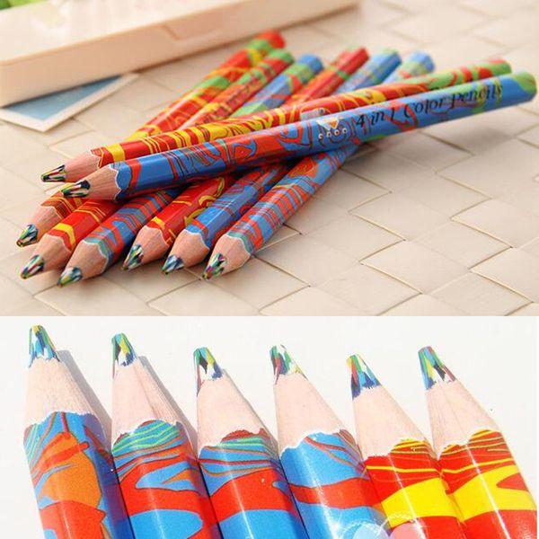 best selling Writing Supplies 20pcs lot Mixed Colors Rainbow Pencil Art Drawing Pencils Writing Sketches Children Graffiti Pen School Supplies