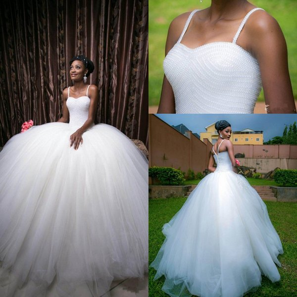 2019 Vestidos de novia Princesa Vestido de bola Mano completa Rebordear Correas de espagueti Sin respaldo Vestidos de novia sudafricanos Vestidos de boda vintage