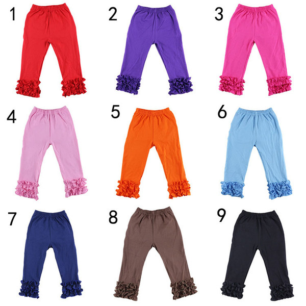 2017 New Autumn Baby Girls Ruffle Pants Leggings Baby Warmer leggings Tights Kids Trouseres Cotton Pants 10 Colors