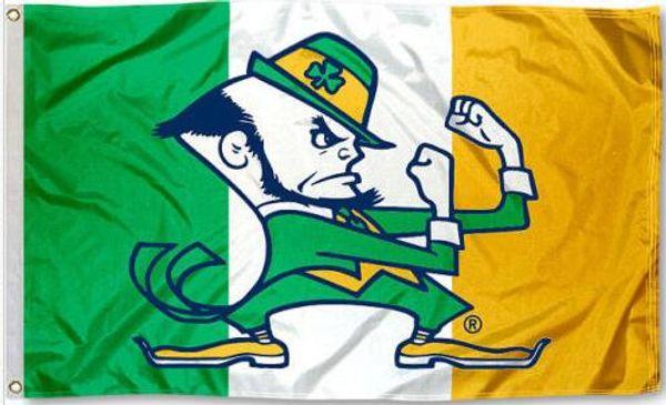 Notre Dame Fighting Irish Ireland Flag Banner 150CM * 90CM 3 * 5FT Poliéster Banner personalizado Bandera de deportes