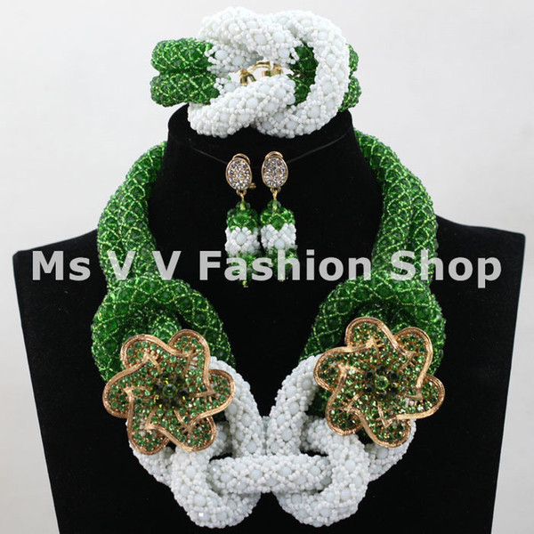 unique charm green white african beads jewelry indian jewelry beaded bracelet necklace earring jewelry set fit wedding prty a gift