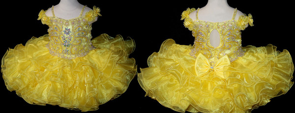 Cute Hand Made Flower Yellow Baby Girl Short Pageant Dress With Beads Cute Hollow Back Infant Ball Gowns Toddler Cupcake Skirt