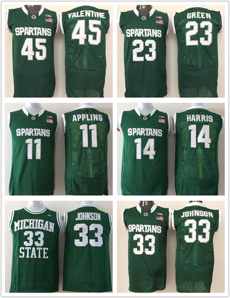Homens Michigan Estado Spartans Colégio Jersey # 33 Magic Johnson 14 Gary Harris 45 Denzel Valentine 23 Camisas de basquetebol de Draymond Green Barato