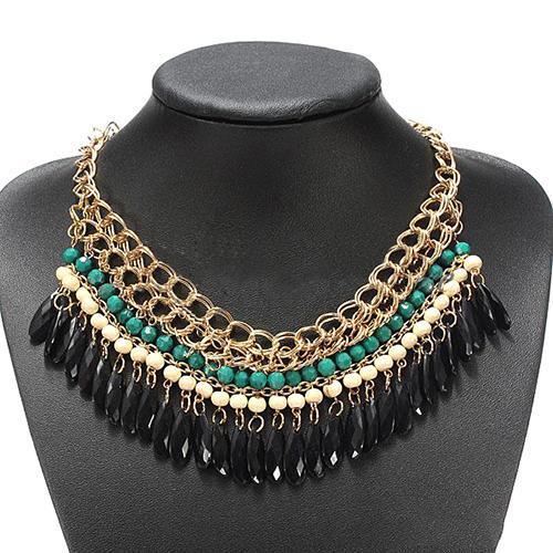 Bohemian Hot Vintage Stylish Layered Beads Tassel Choker Bib Gold Necklace H210978