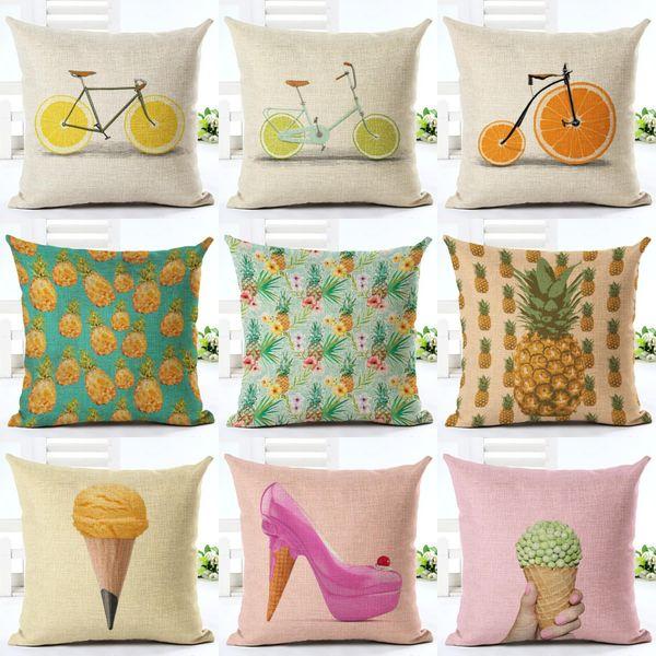 45cm Fanshion Cotton Linen Fabric Throw Pillowcase Fruits Cake Hot Sale 18 Inch New Home Coffee House Sofa Back Decor Cushion Cover