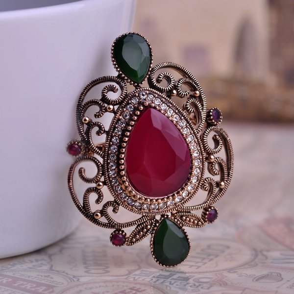 Green Water Drop Shape Brooches Hat Hair Accessories Brand Turkish Corsage Antique Gold Plated Vintage Brooch Pins Women Gifts