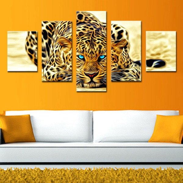 5 Pieces Wall Art Painting Abstract Leopards Modern Home Wall Decor Canvas Picture Art HD Print Painting The Pictures For Living Room Decor