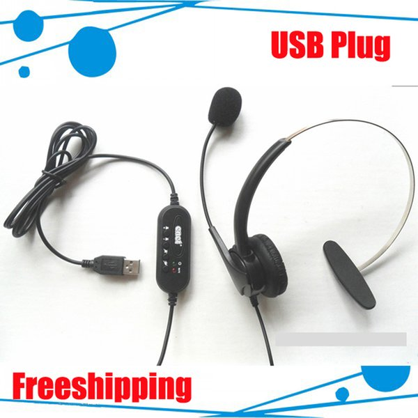 Call center telephone headset / headphone with Volume Control USB plug call center telephone headphone 10PCS/LOT