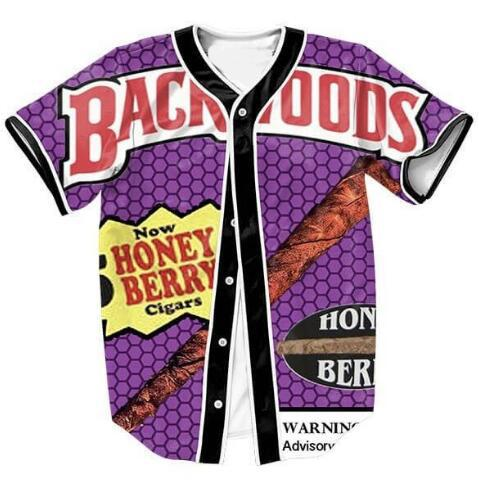 best selling Wholesale- Backwoods Honey Berry Blunts Jersey Women Men Fashion Clothing 3D Print Shirt Streetwear Tops Free Shipping