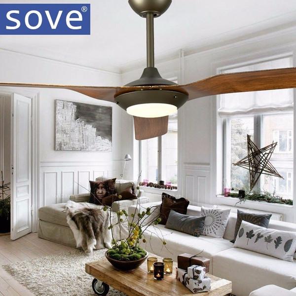 52 pulgadas de cromo modernos LED ventiladores de techo con luces Lámina de plástico Dormitorio Luz de techo Ventilador Lámpara control remoto 220 voltios
