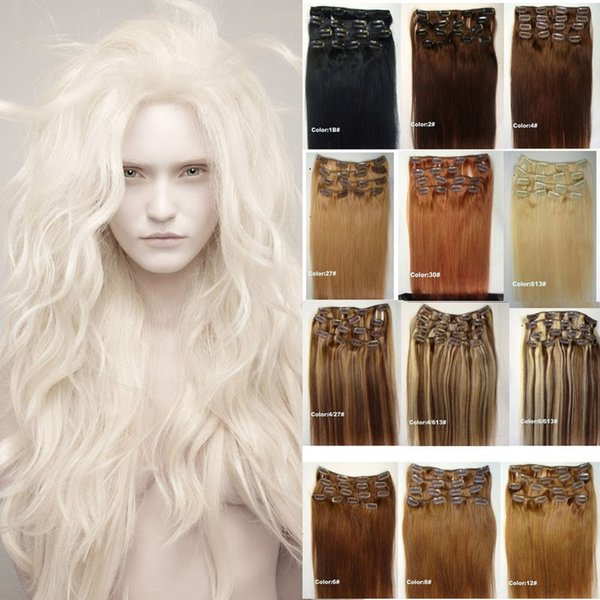 top popular 70g set European Human Hair Clip In Human Hair Extension 16inch-24inch Full Head 7Pcs Set Clip In Human Hair 28 Colors 2019