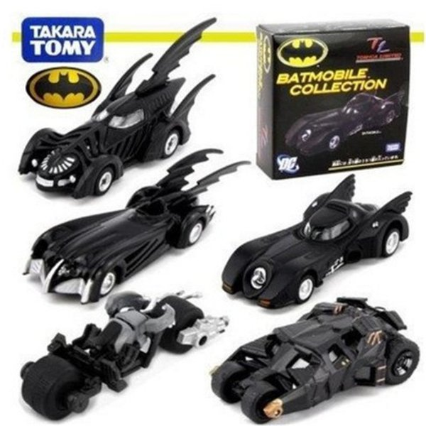 "5PCS/Set Hot Sale Mini DC Tomica Limited TC Batman Metal Batmobile Collectible Model Toys 7cm/2.8"" Car For Kids Christmas Gift in Box M139"