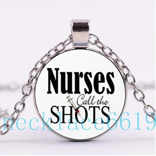 10Pcs Nurses Call the Shots Necklace Pendant,Christmas Gift,birthday Gift,Cabochon Glass Necklace,silver/black Fashion Jewelry R-1088