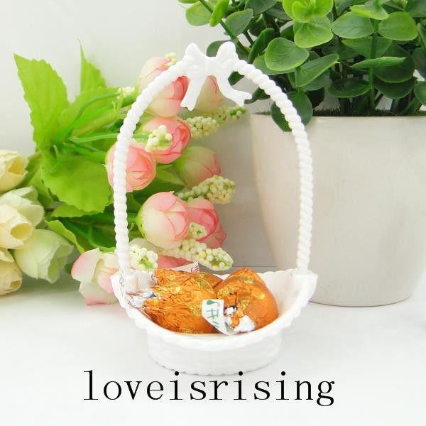 3 colori U Pick - 24pcs / lot Bianco Little Flower Basket Candy Boxes Baby Shower favori per bambini Compleanno di nozze forniture per bambini