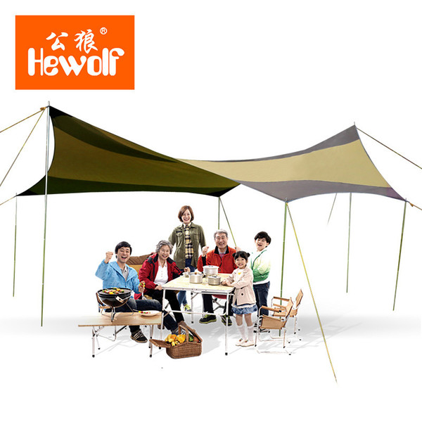 Wholesale- 500x500CM Outdoor Camping Hiking Super Large UV Protection Sun Shelter Coating Silver Rain Tarp Shelter 210D Oxford Awning Tent