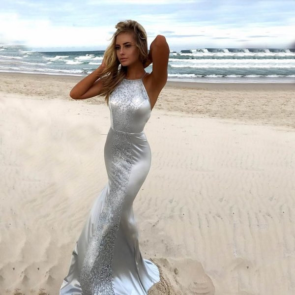Großhandel Elegante Silberne Spitze Satin Nixe Abend Kleid Juwel ...