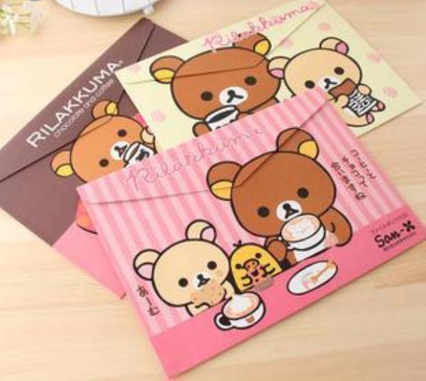 Wholesale-New Cartoon Bear Lovely Pouch Bag Case Paper Cute Korean Office School Filing Products Document Stationery H0611