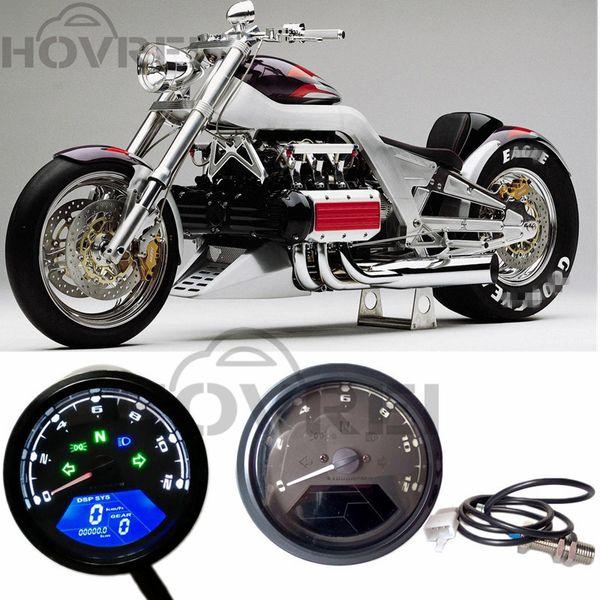 Black 12000 RMP kmh/mph Universal Motorcycle LCD Digital Odometer Speedometer Tachometer Gear indicator Motorcycle Scooter Golf Carts ATV