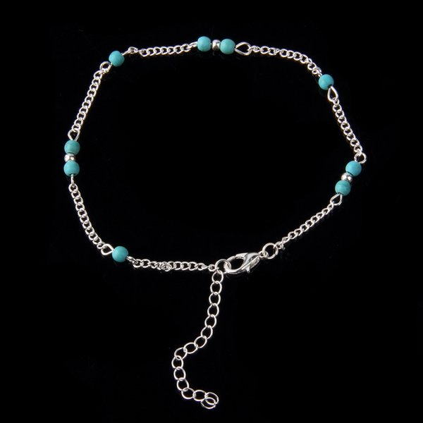 top popular Unique Nice Turquoise Beads Silver Chain Anklet souvenir Ankle Bracelet Foot Jewelry Fast Free Shipping New Hot Selling ZA0009 2019