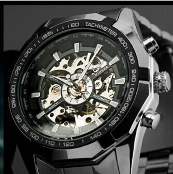 2019 Herrenuhren top-marke luxus Gewinner Mode Skeleton Uhr Männer Sportuhr Automatische Mechanische Uhren Relogio Masculino + Uhrenbox
