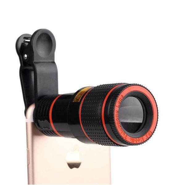 Lentille télescopique 8x Zoom caméra optique non universelle lenep avec clip pour Iphone Samsung HTC Sony LG mobile mobile téléphone mobile